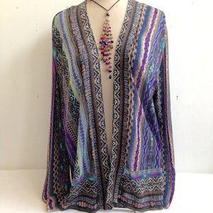 Chico's 3 Boho Print Lightweight Cardigan Sweater